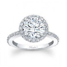 Round diamond with diamond halo and thin diamond band