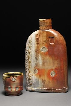 WallaceCeramics Functional and Sculptural Wood-fired pottery - Flask and shot cup