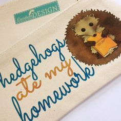 Experimenting with some new #pencilcases today - what do you think of this #Hedgehogs Ate My Homework pencil case #design? Ceridwen Hazelchild Design