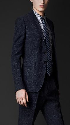 Burberry Prorsum SS13 Donegal Tweed Slim Fit Suit - Black Ink