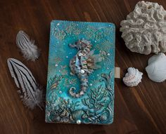 Items similar to Sea horse journal-Blue journal-OOAK-magic book-magic journal-grimoire journal-sea horse book-sea horse accessory-sea horse sketchbook on Etsy Diy Resin Art, Polymer Clay Art, Hobbies And Crafts, Arts And Crafts, Wicca, Clay Box, Biscuit, Handmade Books, Sculpture Clay