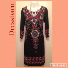 Dress Barn  Black Colorful Fun Dress Preloved in like new conditions. 3/4 sleeves. Pleaded Round neckline. Tunic Dress.  Please ask for measurements if needed, that way we can have a pleasant transaction.  •Love to Bundle & Take reasonable offers.  •Pet & Smoke Free Home.  Thanks! #lakaren77 Dress Barn Dresses