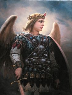 Archangel, Painting by Andrey Shishkin Russian Culture, Russian Art, Angels Among Us, Angels And Demons, Male Angels, Russian Painting, Angel Pictures, Archangel Michael, Gif Animé