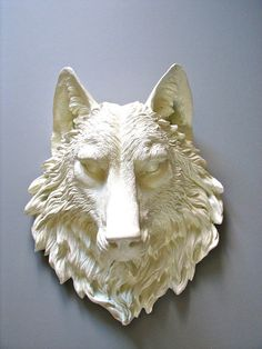 Faux Taxidermy Full Size Wolf Head Wall Decor: Willem the Wolf