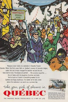 Travel Ad, 1960s, Vintage Quebec Travel Ad, French Canada, print Ad, retro travel art, travelling, travel art print, Quebec winter ski  //  fabulous vintage 1960s ad for Quebec Travel with original artwork depicting La Province de Quebec .. inspiring vacation days! //  $7.00