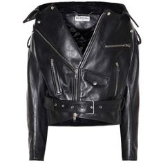 Balenciaga Leather Biker Jacket (€3.155) ❤ liked on Polyvore featuring outerwear, jackets, black, 100 leather jacket, motorcycle jacket, moto jackets, genuine leather biker jacket and leather jackets