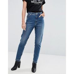 Cheap Monday High Rise Mom Jean with Released Hem (345 RON) ❤ liked on Polyvore featuring jeans, blue, relaxed skinny jeans, high waisted jeans, tall high waisted jeans, high waisted blue jeans and high waisted skinny jeans