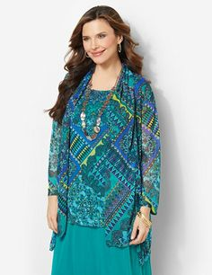 Perfect for Mardi Gras celebrations and beyond, our festive duet style features a solid tank with a sheer layer over top in a vibrant, colorful print. A matching sheer cardigan completes the look to brighten up your wardrobe. Features long sleeves and an asymmetrical hem with slits on each side. Catherines tops are designed for the plus size woman to guarantee a flattering fit. catherines.com