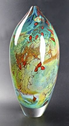 Vases – Home Decor : Peter Layton: Tahiti Ovoid -Read More – Blown Glass Art, Art Of Glass, Glass Vase, Wine Glass, Cut Glass, Verre Design, Glass Design, Glass Ceramic, Ceramic Art