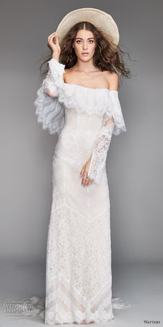 willow by watters spring 2018 long sleeves off the shoulder straight across neckline heavily embellished bodice bohemian fit and flare wedding dress sweep train (12) mv -- Willowby by Watters Spring 2018 Wedding Dresses