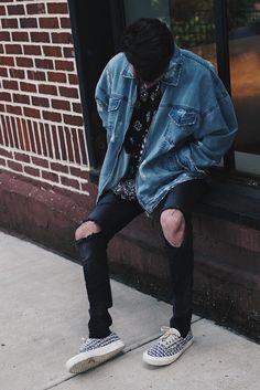 Harrison Nevel wearing Other uk Denim Jacket, Fear of God Vans 95 Era Reissue Sneakers