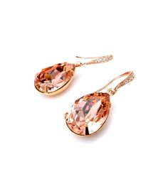 bridesmaid gift prom Swarovski vintage rose blush pink teardrop foiled crystal rhinestone drop with cubic zirconia rose gold hook earrings from DesignByKara