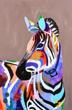 Colorful zebra, acryl/lak op doek, afmeting 80x120.