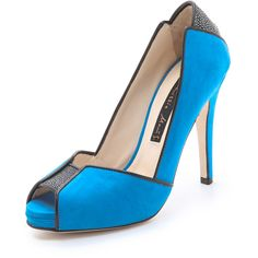 Chrissie Morris Metropolis Open Toe Pumps - Blue/Black ($200) ❤ liked on Polyvore featuring shoes, pumps, heels, zapatos, open toe pumps, black high heel shoes, black platform pumps, high heeled footwear and black leather shoes