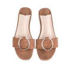 Brown suede ring slide sandals ($76) ❤ liked on Polyvore featuring shoes, sandals, brown flat sandals, suede shoes, suede flat sandals, brown sandals and flat slide sandals