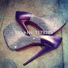 Newest purple leather crystal platform pumps women wedding party high heel brand red sole stiletto shoes