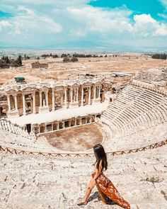Exploring The Amazing Hierapolis Theatre.One of the Best-preserved collection of Greco-Roman theatre. Turkey Destinations, Greece Destinations, Dublin, Greece Outfit, Madrid, Roman Theatre, Pamukkale, Amsterdam, Turkey Travel