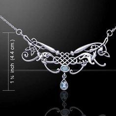 Celtic Dragon with Blue Topaz Necklace