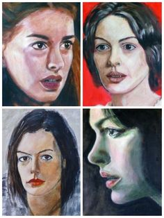 4 Faces of Anne Hathaway, acrylic on paper
