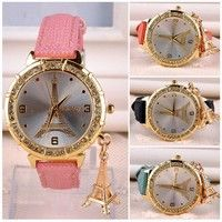 Gender: Female Movement: Quartz Case Shape: Round Band material: PU Leather Case material: Alloy Col