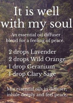 It is Well with My Soul diffuser essential oil blend. More information regarding the use of CPTG Essential Oils can be found at www. Essential Oil Diffuser Blends, Doterra Essential Oils, Natural Essential Oils, Doterra Diffuser, Marjoram Essential Oil, Doterra Blends, Essential Oils For Anxiety, Clary Sage Essential Oil, Aromatherapy Diffuser