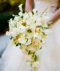 Absolutely Stunning Teardrop/Cascade Wedding Bouquet Arranged With: White Mini Callas, White Lisianthus, White Spray Roses, Orchid Buds, Freesia Buds & Crab Apples ~~