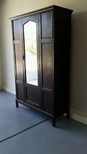 BEAUTIFUL ANTIQUE SINGLE DOOR ARMOIRE WARDROBE WITH BEVELED MIRROR