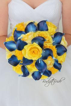 Davids Bridal Marine Blue and Yellow Wedding Bouquet, with navy blue calla lilies and yellow roses