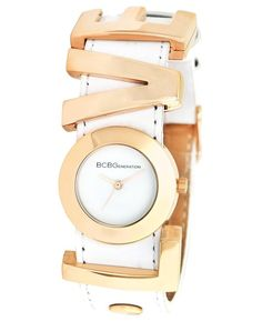 BCBGeneration Watch, Women's Love Charm White Leather Strap - All Watches - Jewelry & Watches - Macy's Women Accessories, Fashion Accessories, Fashion Jewelry, Initial Bracelet, Love Charms, Bcbgeneration, Watch Brands, Jewelry Watches, Women's Watches