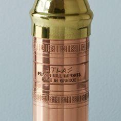 Copper and Brass Pepper Mill: Remodelista Greek Soldier, Spice Grinder, Copper And Brass, Pepper Mills, Utensils, Tabletop, Kitchen, Addiction, Coffee