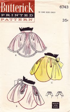 Butterick 6743 1950's Quick & Easy Apron Pattern