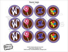 Chocolate Factory Birthday Party Package - PRINTABLE, D.I.Y. Digital File - by Metro Events/Metro-Designs. $16.98, via Etsy.