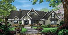 Craftsman Style HomePlan with 2863 Square Feet and 4 Bedrooms from Dream Home Source | House Plan Code DHSW077461