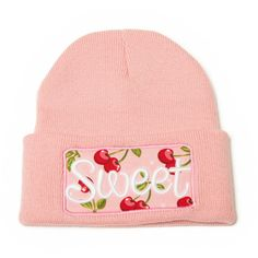 Custom Beanie with word SWEET 3D Embroidered Cherry Pattern Beanie Hat (19  CAD) ❤ 3a89a6b27b8e