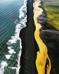 Yellow Photography, Yellow River, Voyager Loin, Destinations, Destination Voyage, Green Fields, Iceland Travel, Beautiful Places To Travel, Blog Voyage