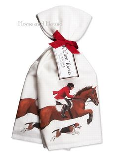 Hunter Jumper Kitchen Towels. Set of two flour sack towels decorated with bay jumper and red coated rider.