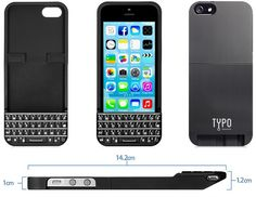 Typo iPhone 5 and iPhone 5S Keyboard case - Front and Back Views, Keyboard And Actual Sizes