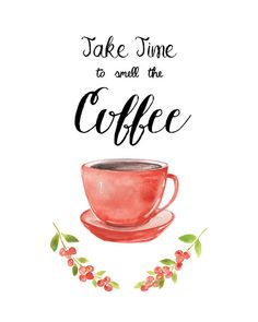 A watercolor art print for coffee lovers and a perfect decor for a kitchen. This art print is hand painted in watercolor, scanned at a high resolution, then… Coffee Cafe, My Coffee, Coffee Painting, Chalk Drawings, Coffee Signs, Coffee Quotes, Kitchen Art, Coffee Break, Fine Art Paper
