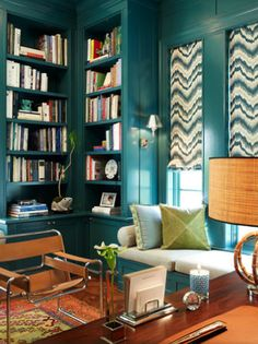 William-Christopher Design | i like color! Idea for color scheme for home office.