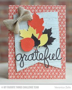Wood Plank Background, Falling Leaves Die-namics, Stitched Jumbo Fishtail Banner STAX Die-namics, Words of Gratitude Die-namics - Veronica Zalis  #mftstamps