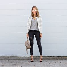 Pattern jacket, gray tee, black jeans