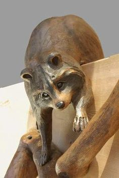 """Custom Made Round Carving """"Raccoons On Branch"""""""