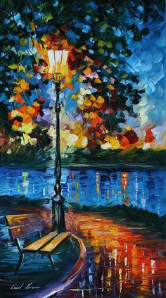 Charm Of Loneliness by Leonid Afremov Handmade oil painting reproduction on canvas for sale,We can offer Framed art,Wall Art,Gallery Wrap and Stretched Canvas,Choose from multiple sizes and frames at discount price. Oil Painting On Canvas, Canvas Art, Rain Painting, River Painting, Blue Canvas, Art Abstrait, Fine Art, Beautiful Paintings, Landscape Paintings
