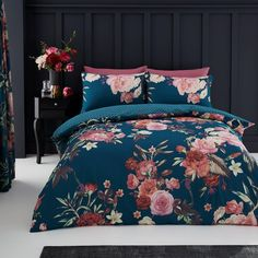 Floral Printed Teal Duvet Quilt Cover Bedding Set – Linen and Bedding Green Duvet Covers, Double Duvet Covers, Bed Duvet Covers, Duvet Cover Sets, Teal Bedding, Black Bedding, Modern Bedding, Turquoise Bedding, Bedding Decor