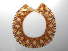 Vintage style seed beaded handmade statement colllar necklace