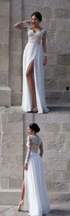 Elegant Long Sleeves Appliques Top White Long Prom Dress/Evening Dresses,BD450216  #fashion #shopping #dresses #eveningdresses #2018prom