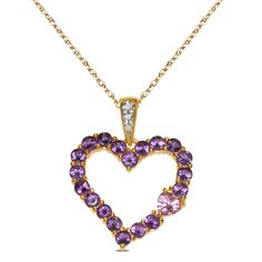 Amazon NissoniJewelry presents - .01cttw with Amethyst and Created Pink Sapphire Pendant in 10k Yellow with Complimentary 18 Chain    Model Number:PV4010A-Y055ACP