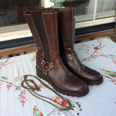 """Donald Pliner """"Hardy"""" brown leather moto boots. The Hardy Italian moto boot by Donald Pliner. I'd say these are kinda badass.  It's dark brown leather with stretch side panels, studded harnesses at the ankle and tractor wedge heels. Like new. Good condition.  Very slight wear on soles at the very back edge.  Top of boot measures 12.5"""" at rest. The panels allow more stretch. Donald J. Pliner Shoes Combat & Moto Boots"""