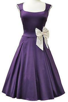 LADY VINTAGE DOLLY DARLING 50s Classy, Cadbury Purple Evening DRESS SIZE 8-28