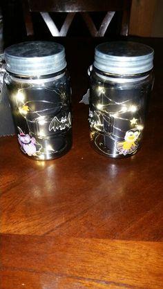 Teachers Halloween gift. Jars with lights